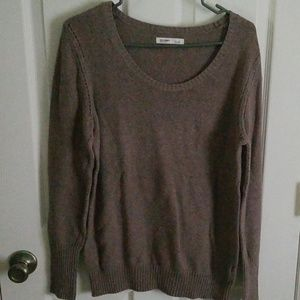 Scoop neck sweater.